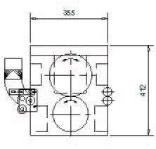 Cutting unit CAD drawing – side view